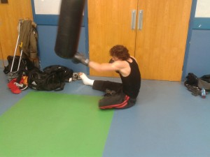 Alex training with a broken foot